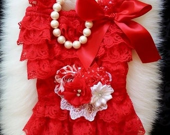 Christmas Outfit Baby Girl/Girl Lace Romper/Baby Lace Romper/Petti Romper/Lace Romper Baby/Christmas Outfit Baby/Christmas Outfit Girl