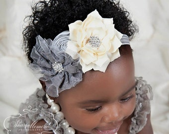 Silver Ivory  Headband/Flower Girl Headband/Baby Headband/Infant Headband/Newborn Headband/Toddler Headband/Girls Headband/Girls Headband