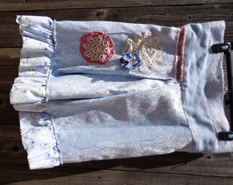SALE, Frayed, Victorian, Light Blue, Vintage, Lace, Zipper, Shabby Chic, Skirt, A-Line, Ruffled, Floral, Pleated, Medium, Large, Doilies