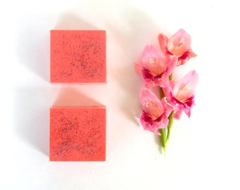 MANGO PAPAYA Soap Vegan Handmade Soap Women Homemade Soap Mango Soap Bar Coral Soap Tropical Fruit Scented Soap Summer Soap Fragrant Soap
