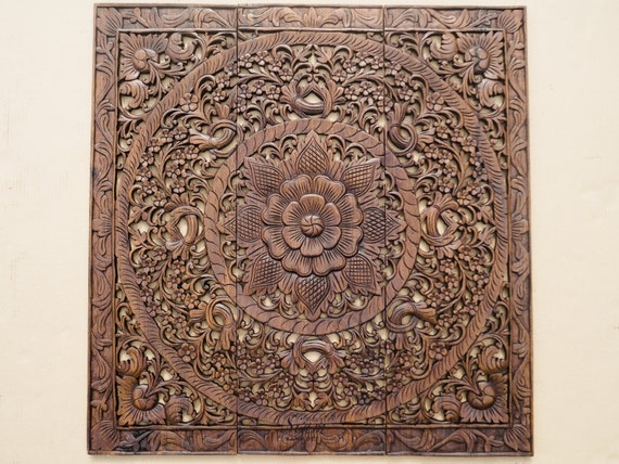 Wall Art Decor Carved Wood Panel Asian Home Interior Decorating