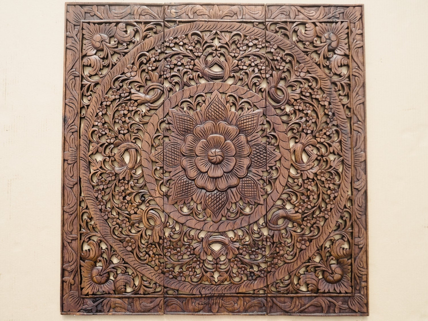 Wall art decor carved wood panel asian home by siamsawadee