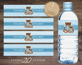 Instant Download Teddy Bear Bottle Labels, Blue Brown Teddy Water Bottle Labels, Teddy It's a Boy Water Bottle Wraparounds 42A