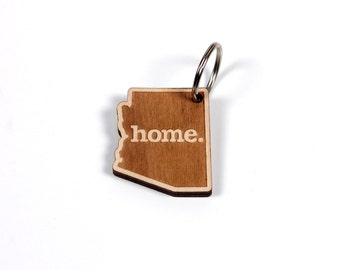 Arizona Key Charm by Home State Apparel: Laser Engraved Wood Keychain, AZ