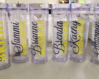 5 Skinny Personalized Bridesmaid Tumblers - Wedding Party Acrylic Tall Tumblers - Set of FIVE