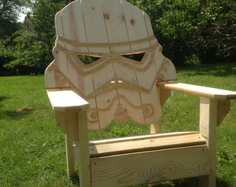 Unfinished star wars storm trooper  chair,Adirondack chair, Yard furniture, big man sized, sturdy,, themed chair, custom beach chair.....