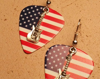 American Flag Guitar Pick Pierced Earrings with Guitar Charms