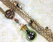 Steampunk Assassin Necklace Green Glass Bottle Jewelry