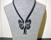 Black butterfly necklace with fringes and Swarovski crystal, black necklace, beaded butterfly, handmade butterfly, one of a kind