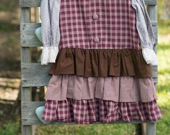 Girls Autumn Dress, Plaid Jumper,Toddler Dress, Back to School Dress Ruffle Dress