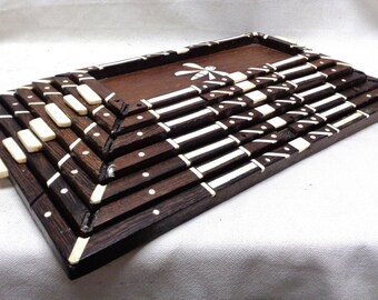 """Wooden Pyramid Stackable Trays w. Butterfly Inlaid Bone? Designs 11x18"""" ANTIQUE"""