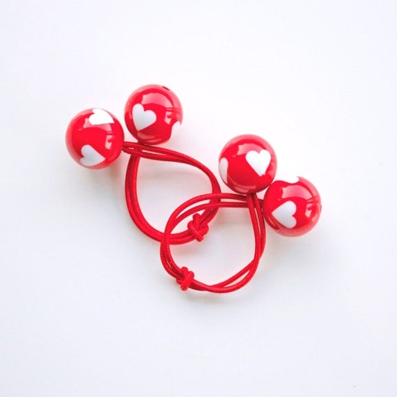 LOVE HEARTS. Hair ties. Elastic hair ties. Funky. Red. Love. Hearts. Retro style hair bobbles.
