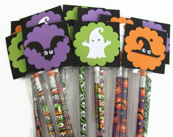 Halloween Party Favors, Halloween Pencil Favors, Party Favors, Trick or Treat, Ghost, Bats,Witches,Classroom Pencils, Party Supplies