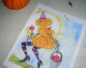 Apple Jack  - Salted Watercolor, Halloween, Print