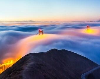 San Francisco Art Photo - Sunrise Golden Gate Bridge Fog Print - San Francisco Photo - California Coast Sunset Art Print