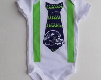 Seattle Seahawks baby boy onesie w/ tie and suspenders football birthday baby shower gift/ superbowl 2014