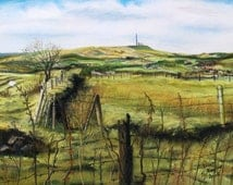 ORIGINAL PASTEL ARTWORK **From Affetside to Winter Hill** A beautiful and very accurate artwork of a rural historic English landscape scene