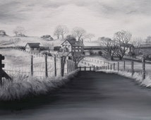 CAREN TAYLOR *ORIGINAL Art*  Oil Painting ''Affetside Farm'' Lancashire, England. Black and white oils on canvas panel Mounted for shipping