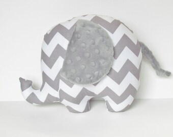 Gray Chevron and Silver Gray Minky Dot Stuffed Elephant Baby Toy Pillow, Nursery Pillow Decor, Photography Prop