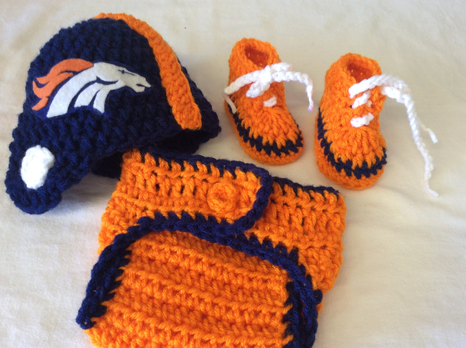 Denver broncos baby crochet football helmet diaper cover zoom bankloansurffo Choice Image