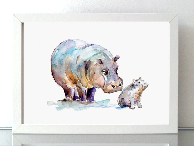 Hippo Watercolor Giclee Print Mother And Baby Hippopotamus