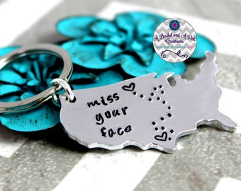 Custom Hand stamped USA Long distance friendship/relationship key chain