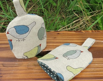A pair of linen egg cosies.  Set of two.