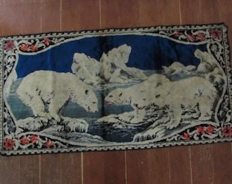 Vintage Polar Bear Tapestry,Vintage Tapestry, Polar Bear Tapestry, Tapestry, Animal Tapestry, Old Tapestry, Imported Tapestry