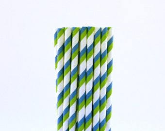 Blue and Green Striped Paper Straws-Striped Straws-Green Straws-Mermaid Party Straws-Blue Straws-Baby Shower Decor-Luau Drinking Straws