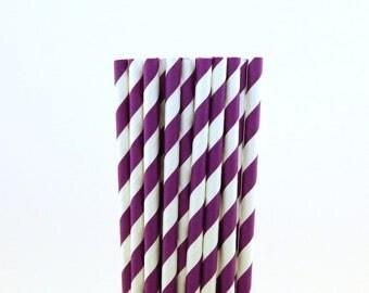 Purple Striped Paper Straws-Dinosaur Birthday Party-Purple Paper Straws-Rockstar Party Decor-Striped Paper Straws-Baby Shower Straws
