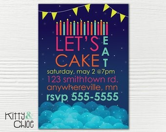 Let's Eat Cake Party Invitation, 5x7 or 4x6
