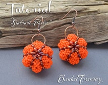 Sunburst Flower - superduo bead pattern, beading tutorial, earrings, pendant, ornament, seed beads, pumpkin, halloween / TUTORIAL ONLY