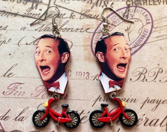 Pee-wee's Big Adventure Pee-wee Herman with Red Bike Dangling Earrings