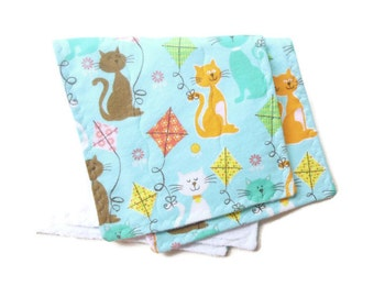 Baby burp cloths, kittens and kites, blue burpies, two burp cloths, blue burp rags, baby shower gift, terry burp cloths, baby burp rags