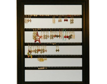 """Earring Holder - Holds 100 pair - Made with a 10""""x13"""" Picture Frame - Wall Mounted - Available in 4 Colors - Mahogany"""