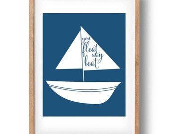 Nautical art print- You float my boat- Printable wall decor: INSTANT DOWNLOAD