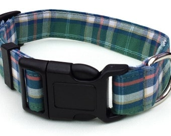 SALE - Dog Collar - Green Check Dog Collar