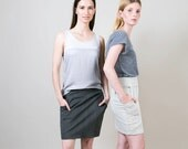 Skirt with pockets, Draped skirt, Knee length skirt