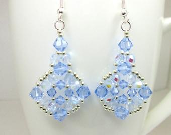 Light blue sapphire swarovski elements earrings, sapphire swarovski, blue jewellery, light blue jewelry, ER035