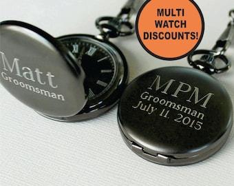 Pocket Watch Engraved, Groomsmen Gifts, Wedding Party Gifts, Personalized Pocket Watch, Mens Pocket Watch, Gunmetal Pocket Watch,
