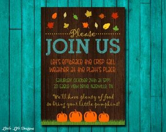 Fall Party Invitation. Fall Party Invite. Bonfire. Fall Invitation. Autumn Leaves. Pumpkin. Harvest Party. Fall Fest. Thanksgiving Invite