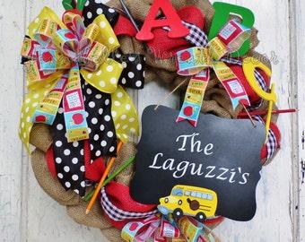 Teacher Wreath, School Wreath, Burlap, Classroom Decor, Teacher Gift, Teacher Appreciation