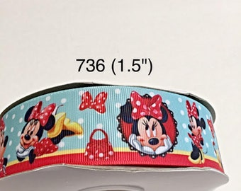 """3 or 5 yard - 1.5"""" Minnie Mouse with Polka Dot Bow and Purse Grosgrain Ribbon Hair bow"""