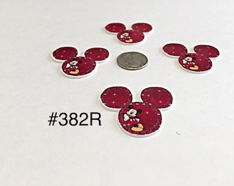 2/3/5 pc Red Mickey Mouse Planar Resin Flat back