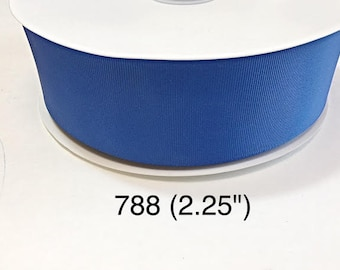 "5 or 10 yard - 2.25"" Jumbo Solid Blue Grosgrain Ribbon For Hair Bow and Hair Accessories"