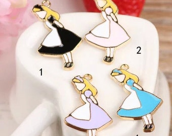 10 pcs of antique gold beautiful girl Alice drop oil charm pendants 19x33mm