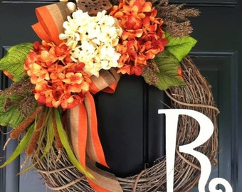 Hydrangea Wreath - Fall Wreath - Autumn Decoration - Fall Decoration - Front Door Wreath - Gift Ideas - Wreath for Fall - Housewarming