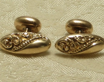 Vintage antique Victorian era rolled gold plate repousse bean back cufflinks cuff links