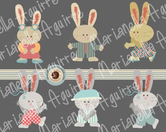 funny bunny. CLIP ART.DIGITAL.