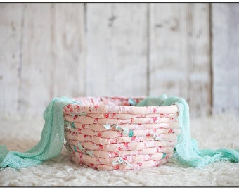 Handwoven Rag Basket - Newborn Baby Photography Prop